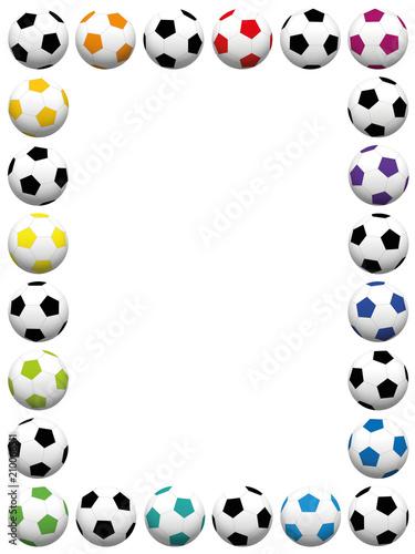 Soccer balls. Colorful vertical frame. Isolated vector illustration ...