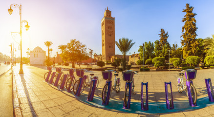 Koutoubia Mosque at sunrise time, Marrakesh, Morocco