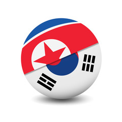 Flag of North Korea and South Korea, circle shape friendship relationship isolated on white background, vector illustration