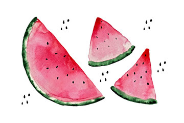 Pink juicy isolated watercolor watermelon slices with seeds on white background