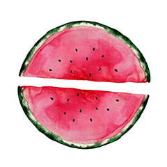 Hand painted watermelon slice isolated on white background. Sweet dessert. Food illustration for design, print or fabric