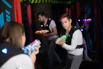 Excited guy during lasertag game