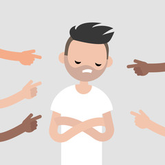 Victim of a bullying. Fingers pointing on the upset character. Mocking. Сonviction of the crowd. Flat editable vector illustration, clip art