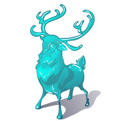 Ice figurine of a deer isolated on a white background. The symbol of new year and Christmas. Vector cartoon close-up illustration.