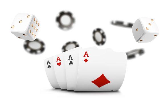 Playing cards, poker chips and dice fly casino on white background. Poker casino vector illustration. Online casino game gambling 3d vector concept, poker mobile app icon