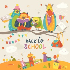 Funny owls on the autumn branch. Back to school