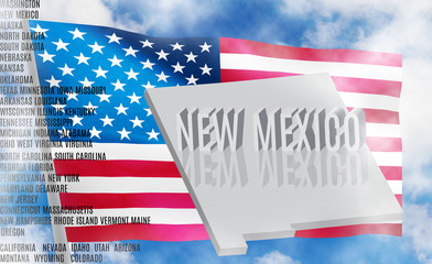 new mexico inscription on American flag background