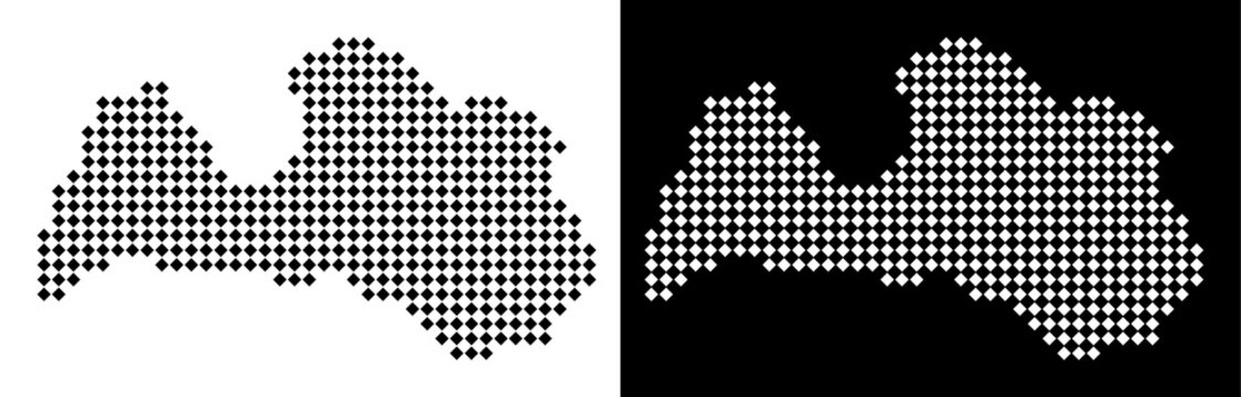 Vector rhombus dotted Latvia map. Abstract territory maps in black and white colors on white and black backgrounds. Latvia map done of rhombus pixel grid.