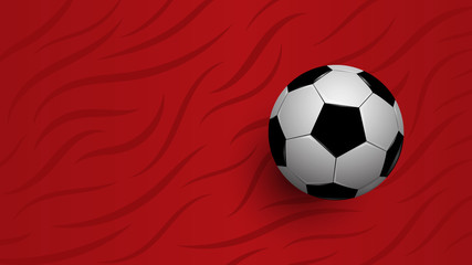 Realistic football on red background, football championship cup, abstract background, vector illustration
