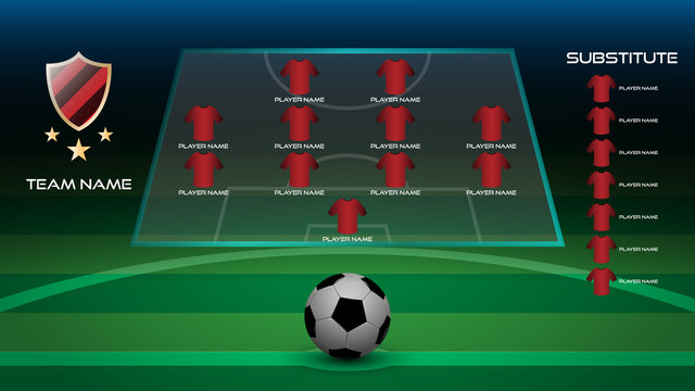 Football starting line up player with team logo, team name and substitute player, realistic 3D football on football grass field, vector illustration