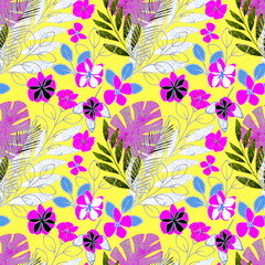 Seamless bright tropical floral pattern background.