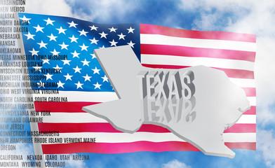 Texas inscription on American flag background