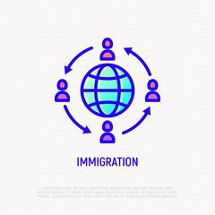 Immigration thin line icon: people moving around globe. Modern vector illustration.