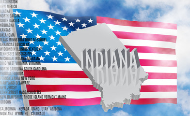Indiana inscription on American flag background