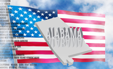 Alabama inscription on American flag background