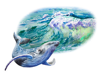 Beautiful, blue, tropical sea and whale. watercolor painting