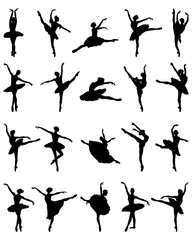 Black silhouettes of ballerinas on a white background