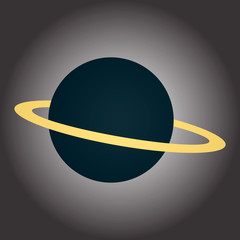 Image of a blue planet with a ring. Illustration on the theme of the cosmos. Vector graphics