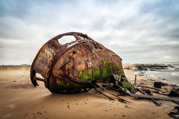 Recess Fitting Shipwreck Ship Wreck along the Skeleton Coast in Western Namibia taken in January 2018