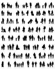 Silhouettes of families at walking, vector