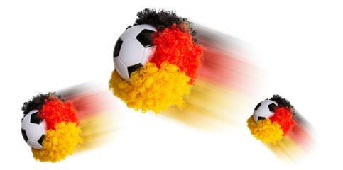 Fussball mit Deutschland Perrücke