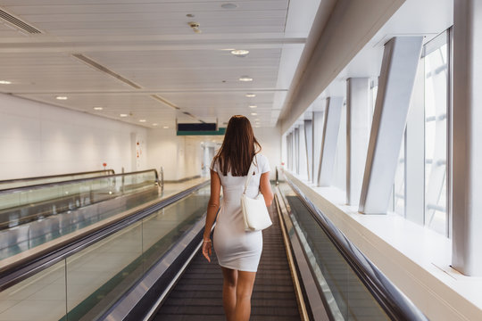 Beautiful young woman in Dubai metro, UAE