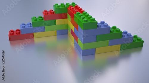 colorful building blocks 3d illustration