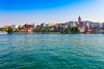 Panoramic view of Istanbul. Panorama cityscape of famous tourist destination Golden Horn bay part of Bosphorus strait. Travel landscape Bosporus, Turkey, Europe and Asia.