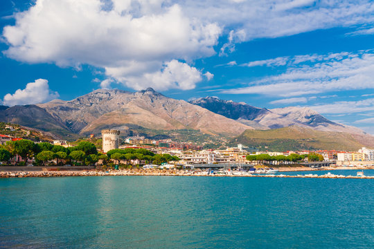 Panoramic sea landscape with Formia, Lazio, Italy. Scenic resort town village with nice sand beach and clear blue water. Famous tourist destination in Riviera de Ulisse