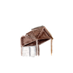 Watercolor sketch of part of the roof. Illustration of part of the building, architecture on white background