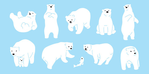 Bear vector polar Bear icon logo illustration character doodle white
