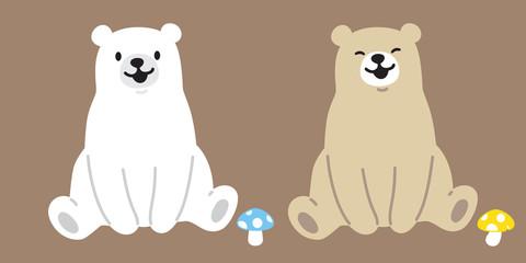 Bear vector polar Bear logo icon mushroom illustration character cartoon