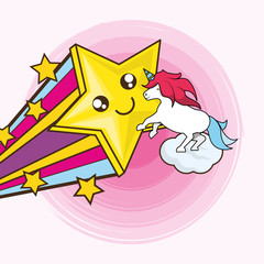 Cute unicorn and kawaii star over pink background, vector illustration