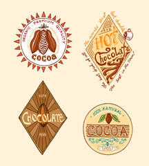 Cocoa and hot chocolate logos. modern vintage badges for the shop menu. Vector illustration. calligraphy style for frames, labels. engraved hand drawn in old sketch.