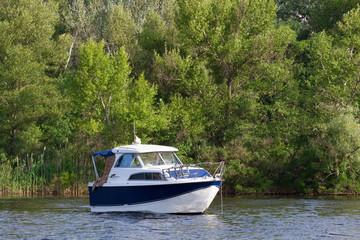 luxury motor boat, modern boat