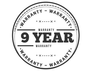 9 years warranty icon stamp