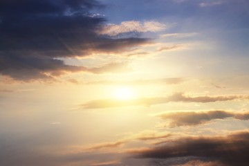 Light from sky . Religion background . beautiful cloud . background sky at sunset and dawn .