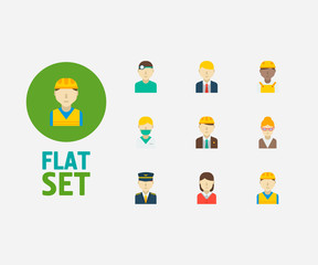 Profession icons set. Plane pilot and profession icons with engineer, construction worker and african worker. Set of administrator for web app logo UI design.