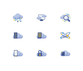Cloud technology icons set. Search and cloud technology icons with file storage, cloud connection and cloud application. Set of hosting for web app logo UI design.