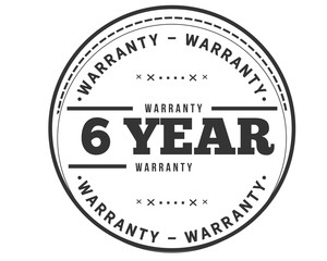 6 years warranty icon stamp