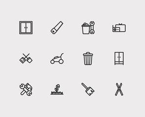 Housekeeping icons set. Plant and housekeeping icons with housekeeping tool, cupboard and sweep. Set of carpentry for web app logo UI design.
