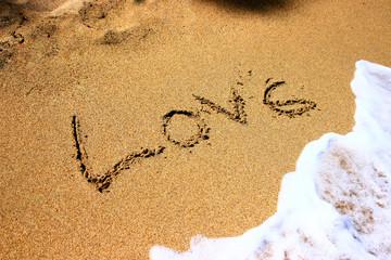 Beach handwriting love quote