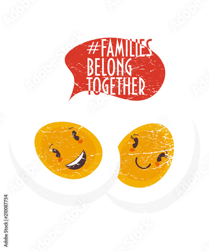Family belong together trendy vector illustration: two