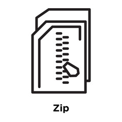Zip icon vector sign and symbol isolated on white background, Zip logo concept