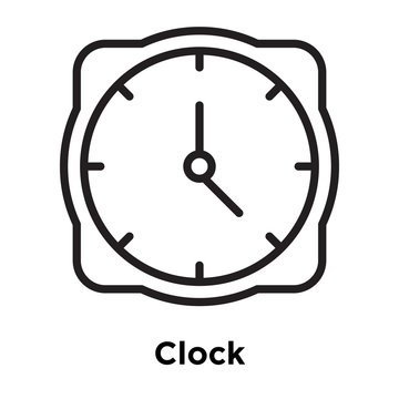Clock icon vector sign and symbol isolated on white background, Clock logo concept