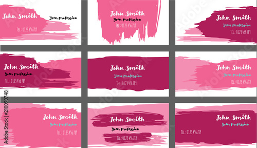 Drawn business cards vector template collection ink oil paint drawn business cards vector template collection ink oil paint brush strokes cool banners set reheart Gallery