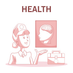 Nurse showing human brain with first aids suitcase vector illustration graphic design