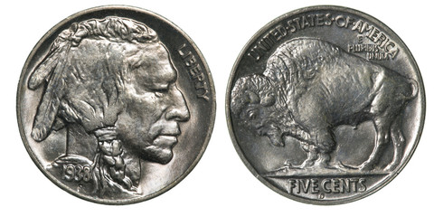 Front and Back (Obverse & Reverse) of a 1938 Indian Head Uncirculated (Buffalo) Nickel