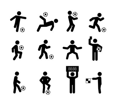 Football Soccer Player Actions Poses Stick Figure Icon Symbol Sign, Vector illustration