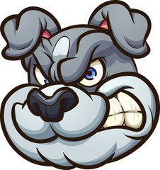 Angry cartoon bulldog head. Vector clip art illustration with simple gradients. All in a single layer.